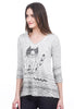 Inoah Sad Kitty V Tee, Gray