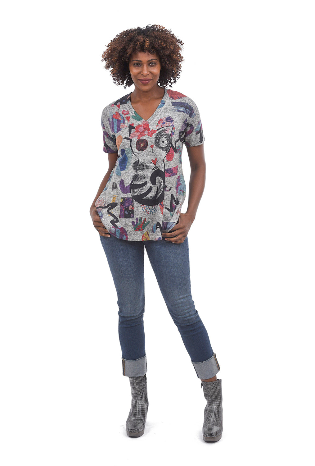 Inoah Lucky Kitty A-Line Top, Gray