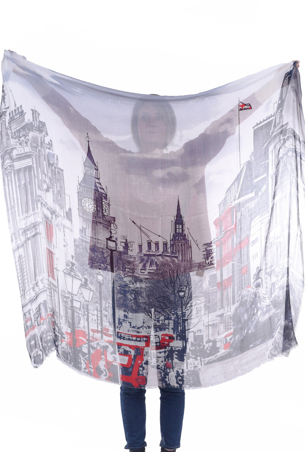 Blue Pacific Vintage Locale Scarf, London Calling One Size Blue