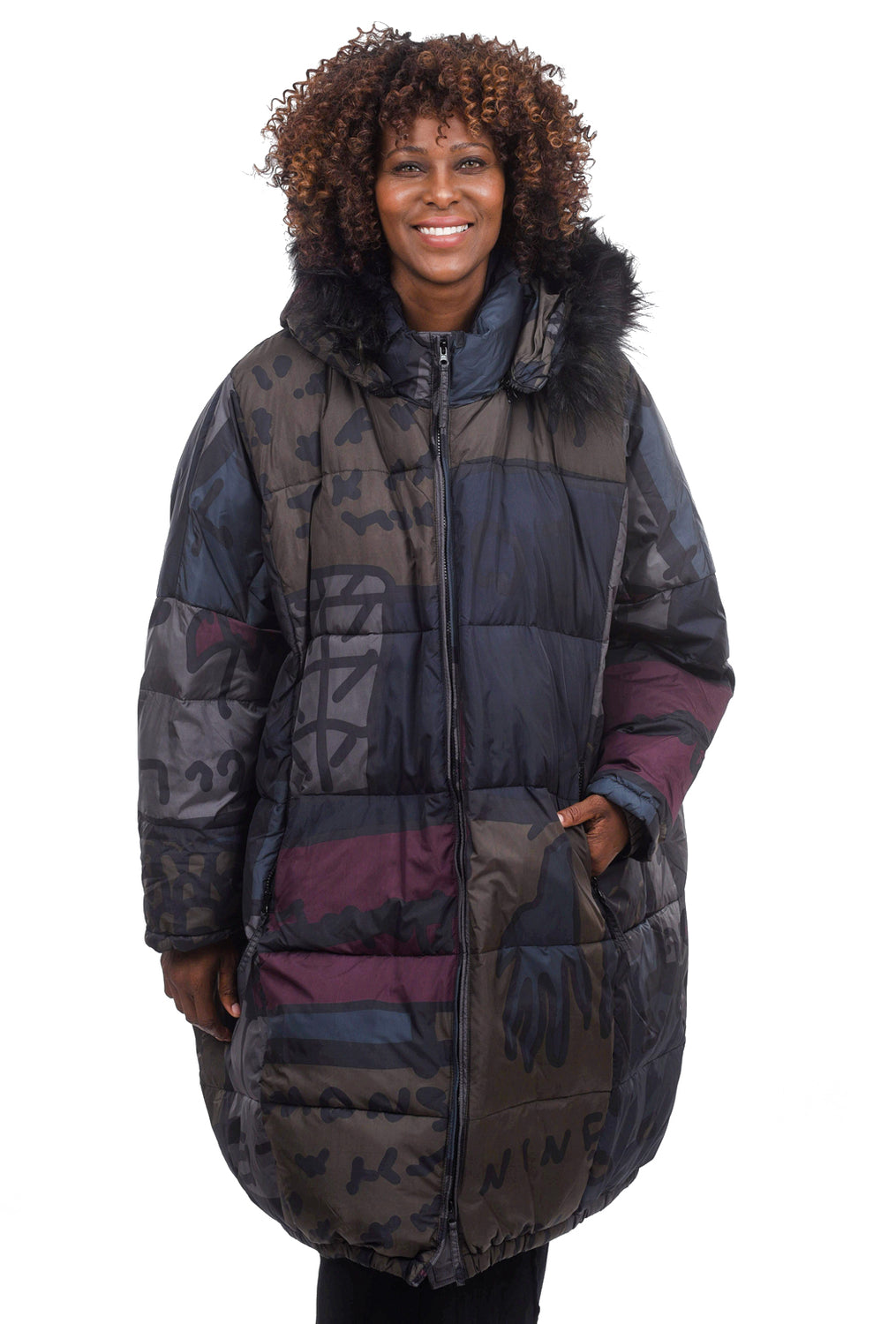 Rundholz Black Label Oversized Print Puffer Coat, Multi Color One Size Multi