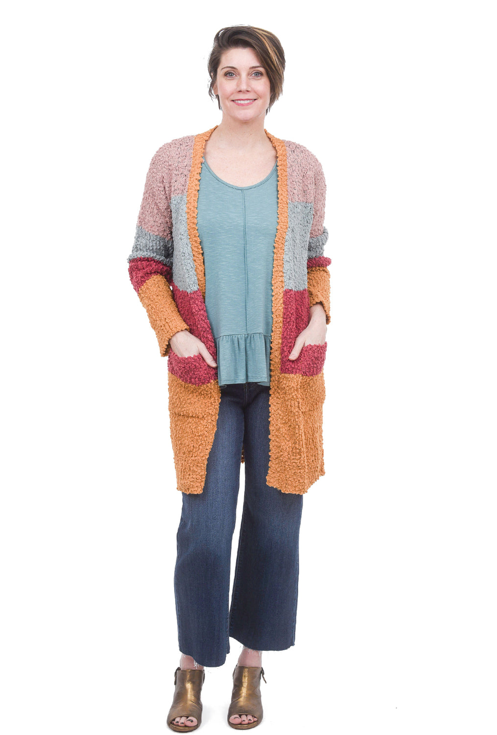 Hem & Thread Chenille Long Colorblock Cardie, Sage/Mauve