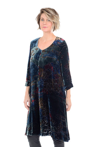 Grizas Velvet Burnout Brocade Dress, Petrol