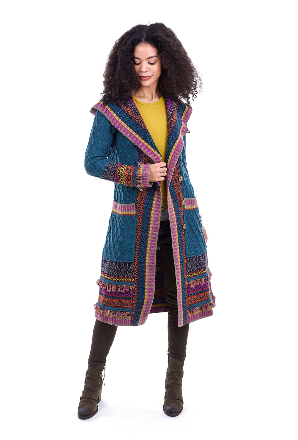 Ivko Women Once Upon a Sweatercoat, Petrol Blue