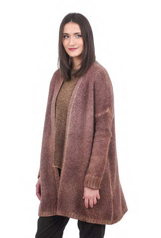 F Cashmere Chunky Cashmere Cardie, Aged Brick