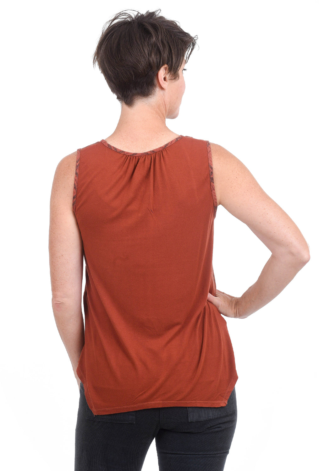 XCVI Plaid V-Neck Tank, Cordovan Rust