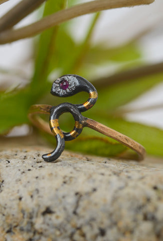 Acanthus Jewelry Snake Ruby Ring