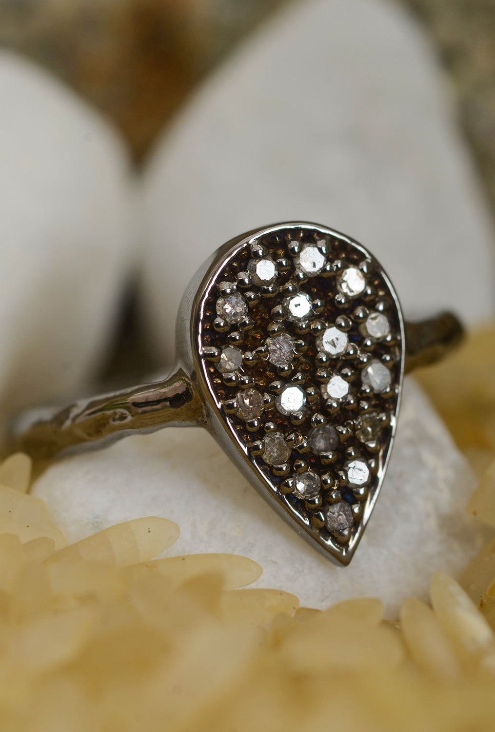 Robindira Unsworth Teardrop Pave Diamond Ring
