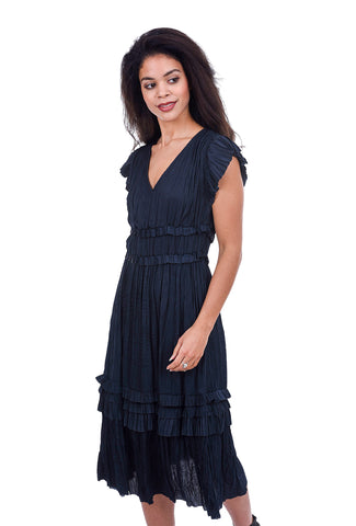 Current Air Shirred Sateen Dress, Navy