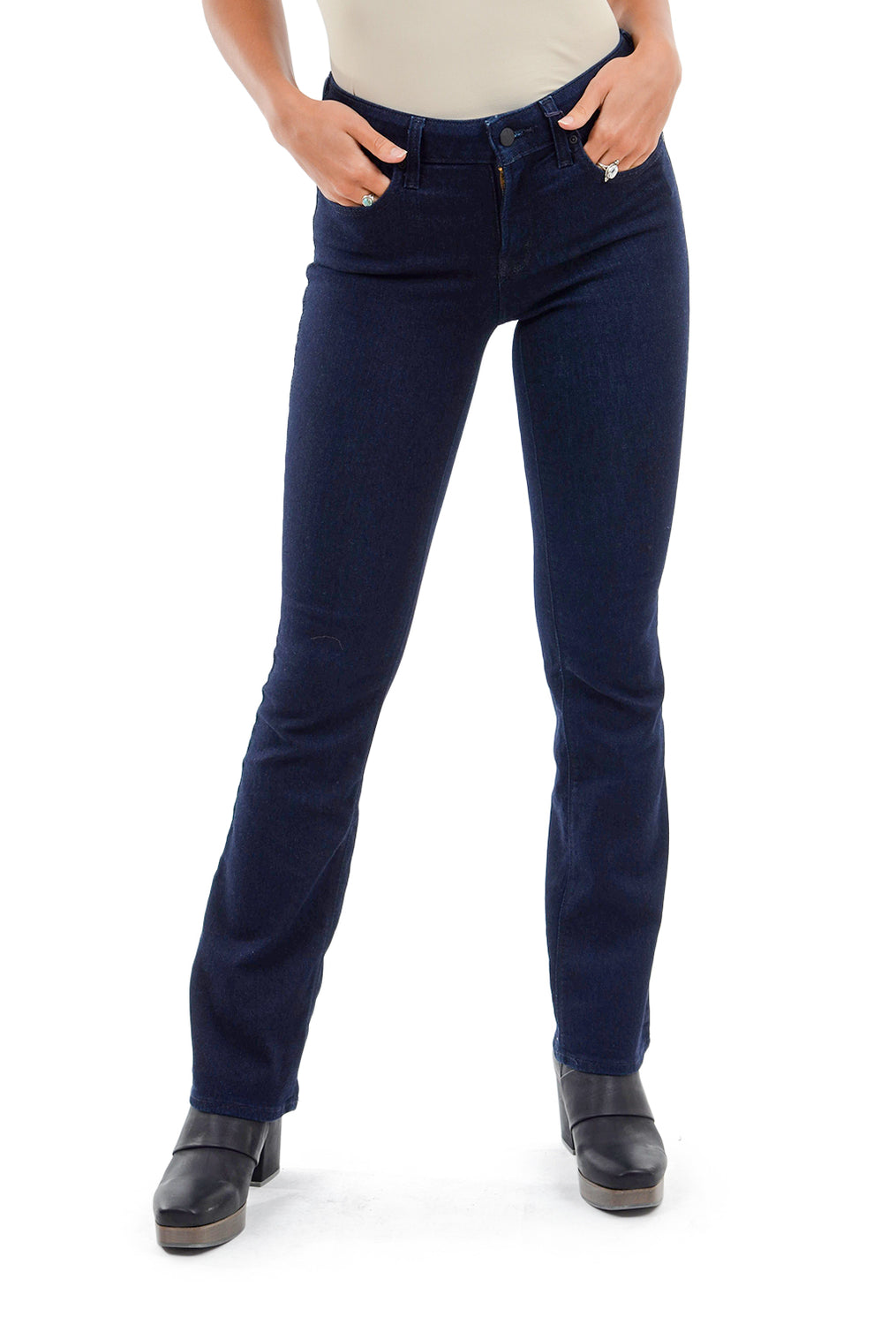 NYDJ Billie Mini Bootcut Jeans, Dark Blue Rinse