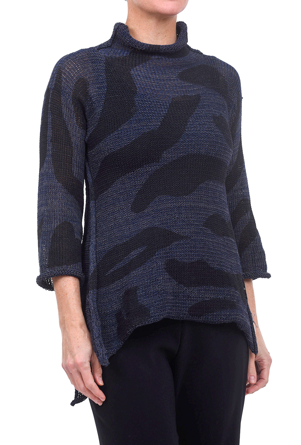 Skif International Turtle High-Low Pullover, Navy/Graphite One Size Navy