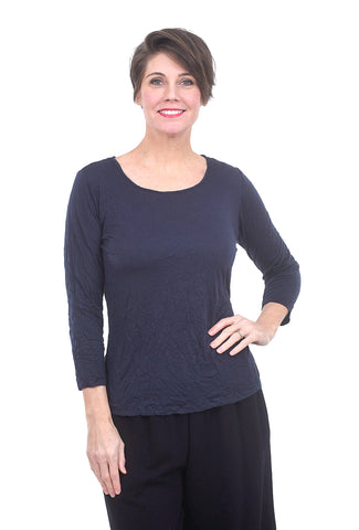 Comfy USA 3/4-Sleeve Crinkle Tee, Navy Blue