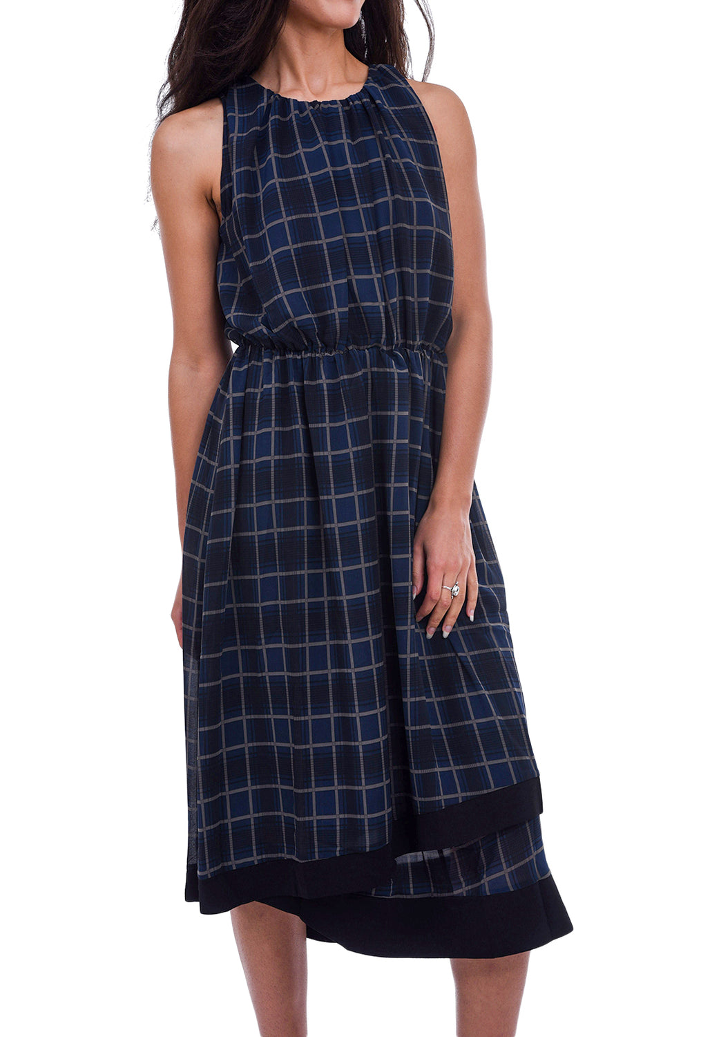 Current Air Gathered Check Dress, Navy