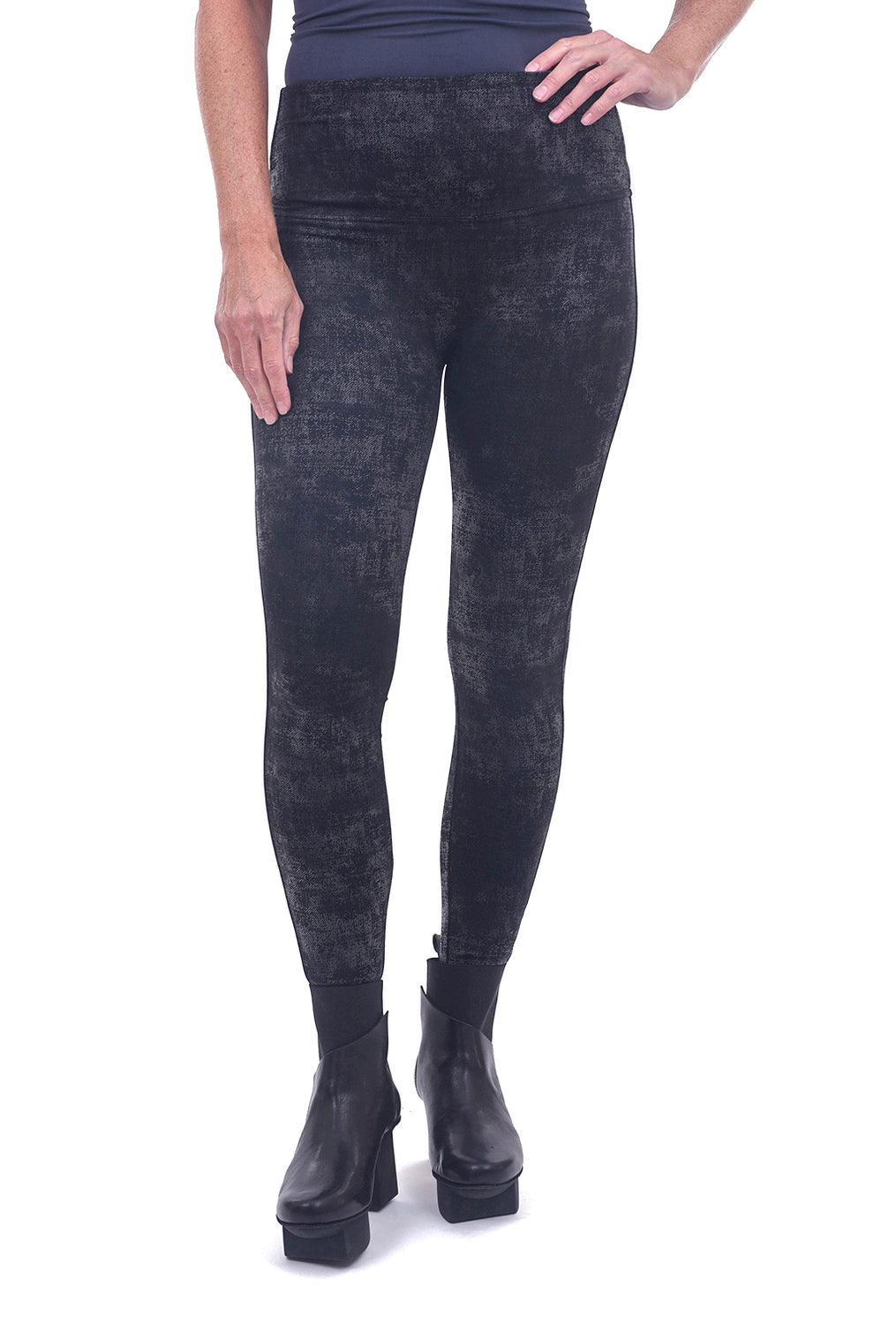 M. Rena Faux Leather Leggings, Black Cement