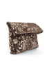 Kim White Foldover Magnet Clutch, Brown Mudsplash