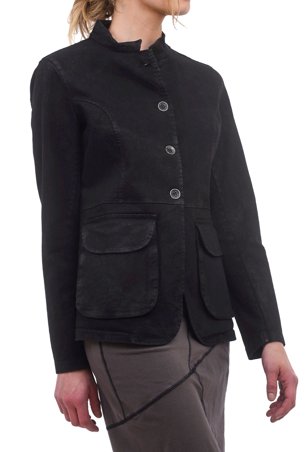 Baci Wax Patchwork Blazer, Black