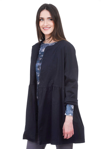 Baci Pleated Duster Jacket, Navy