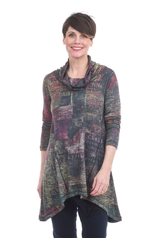 Inoah Polyglot A-Line Cowl Top, Green/Purple