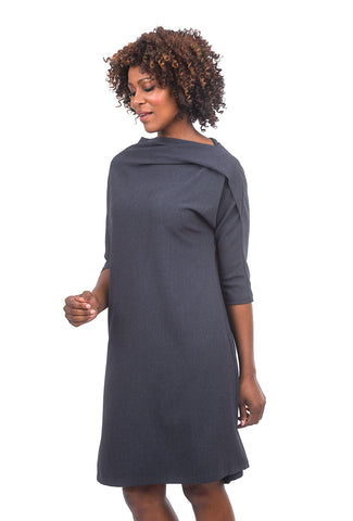 Niche Winter Crepe Shell Dress, Gray