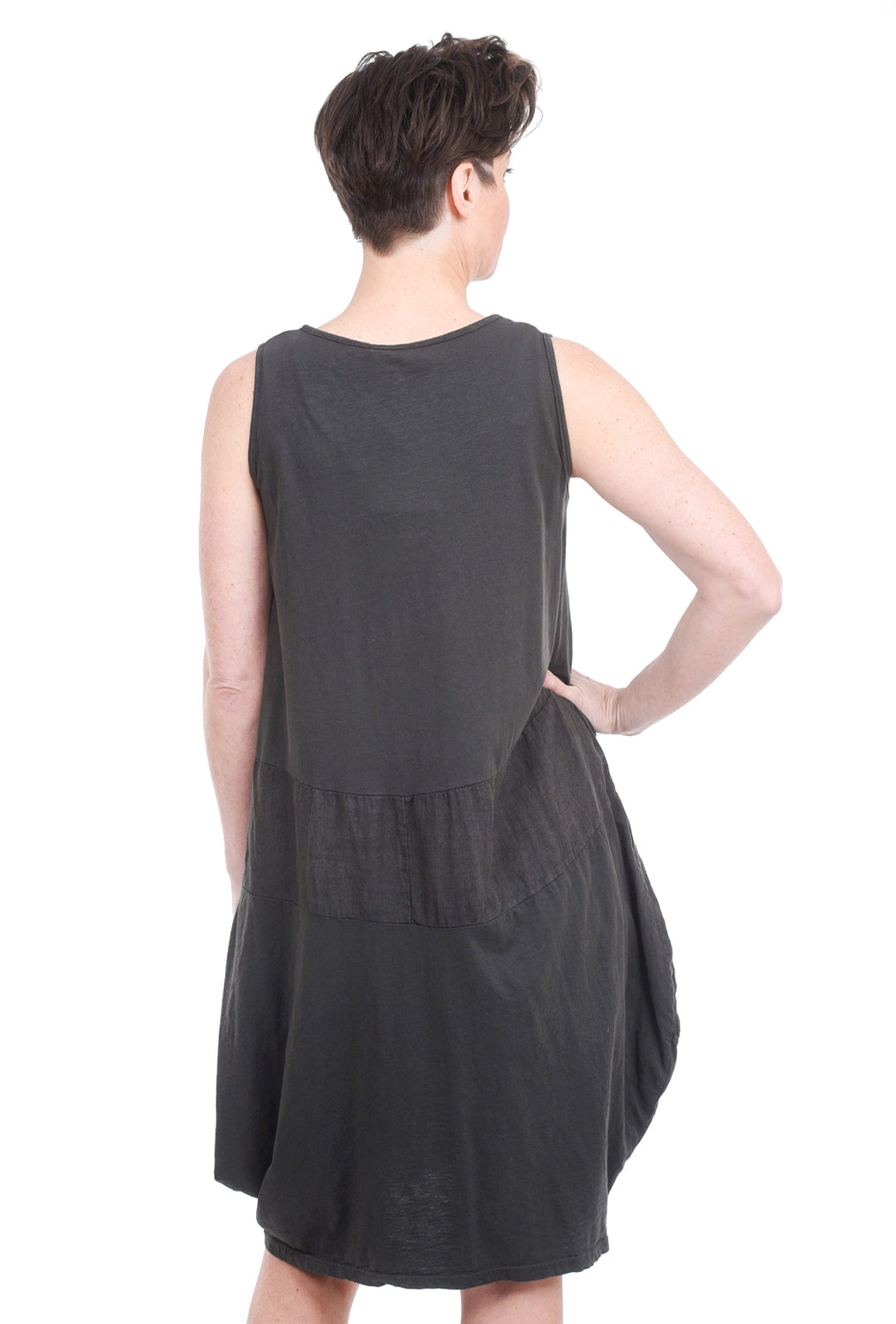 Oro Bonito S/L Linen Inset Bubble Dress, Charcoal One Size Charcoal