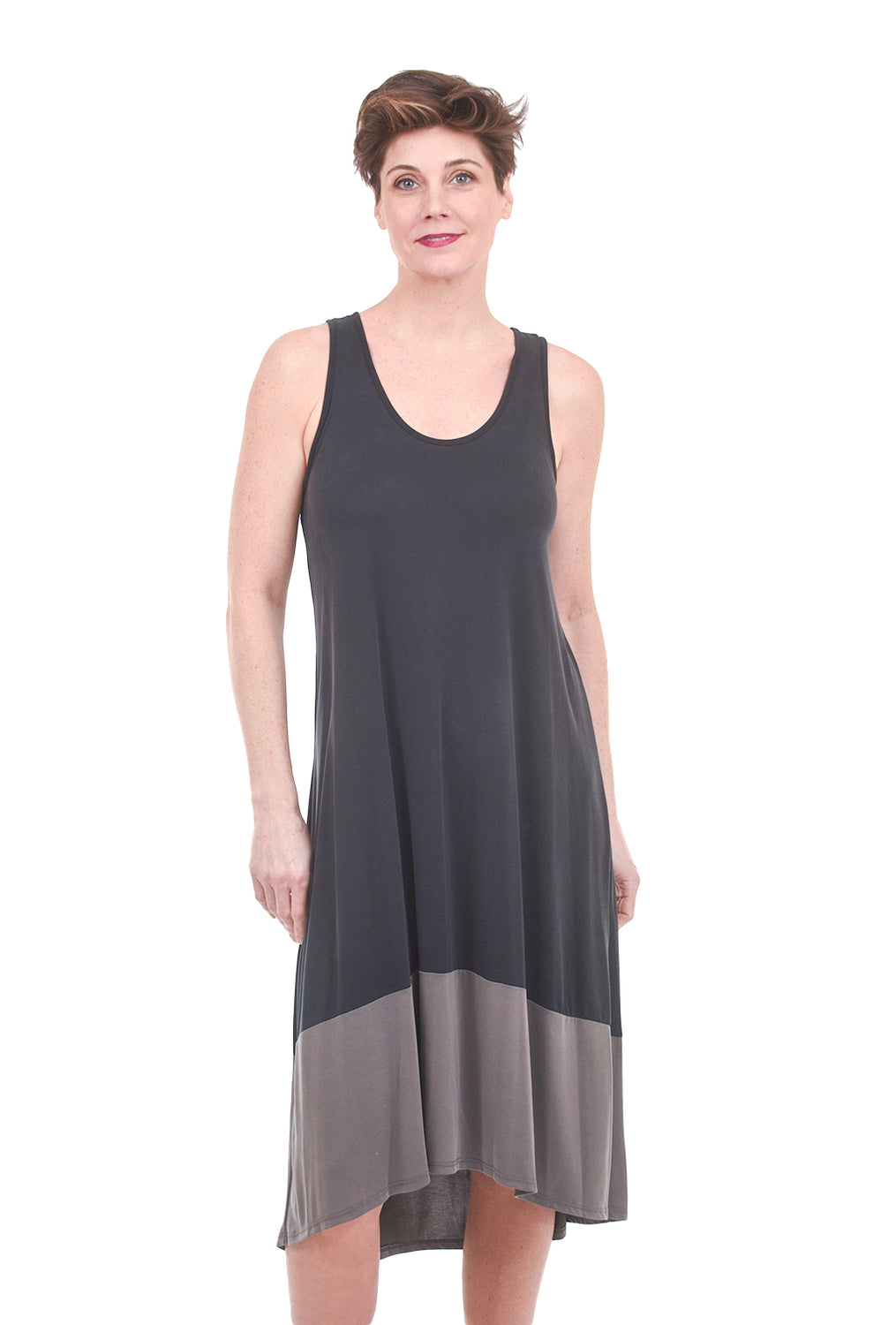 COA Two-Tone Tank Dress, Black/Taupe