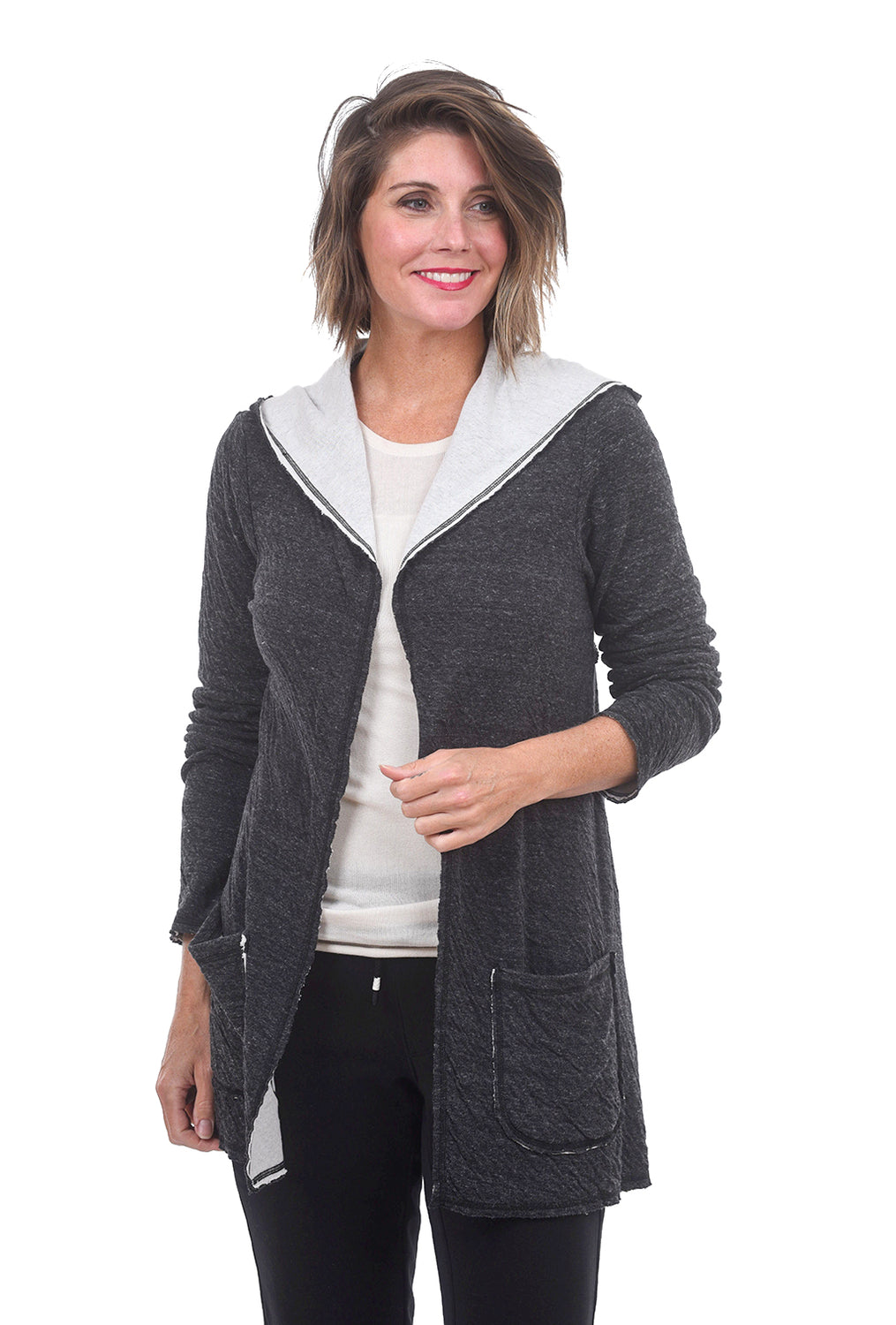 Cut Loose Char Double-Cloth Cardie, Laundered