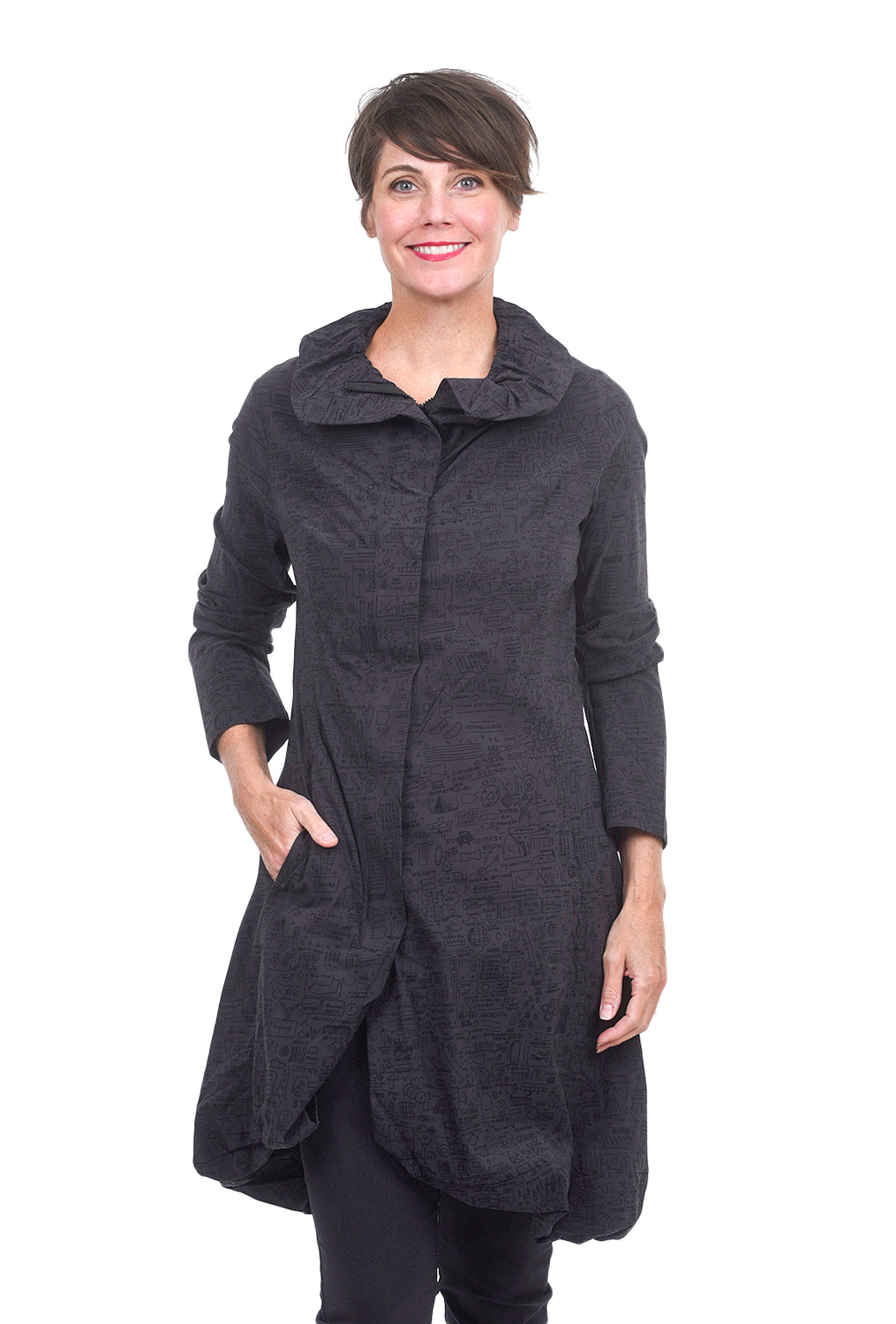 Rundholz Black Label Stretch Twill Shapely Topper, Dark Gray Print