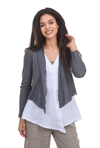Cut Loose Cropped Mesh Tulle Cardie, Iron Gray