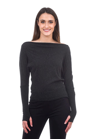 Enza Costa Off-Shoulder Cuffed Crew, Charcoal