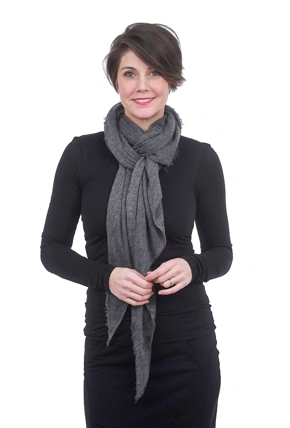 Grisal Cashmere Love Scarf, Heather Gray/Charcoal
