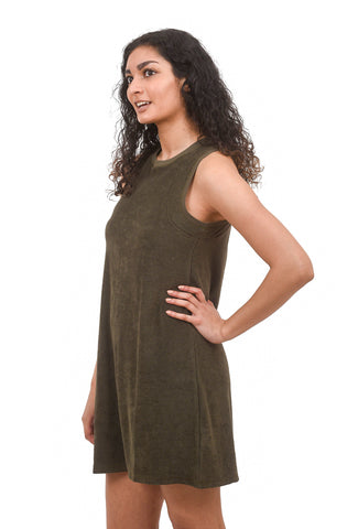 Lilla P Sleeveless French Terry Dress, Kelp