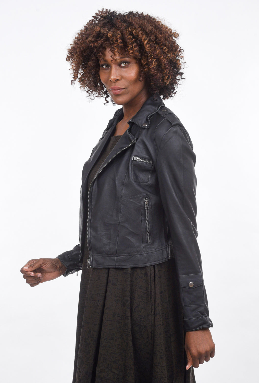 Jackett Josey Washed Leather Jacket, Black
