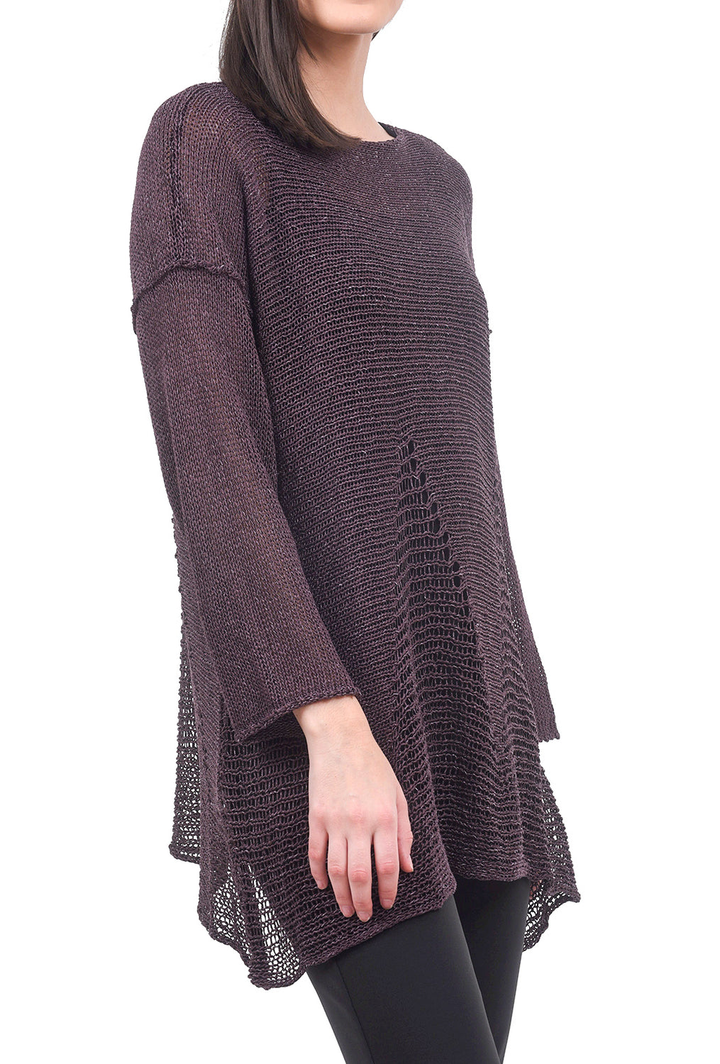 B&K Moda Dropstitch Detail Sweater, Plum One Size Plum
