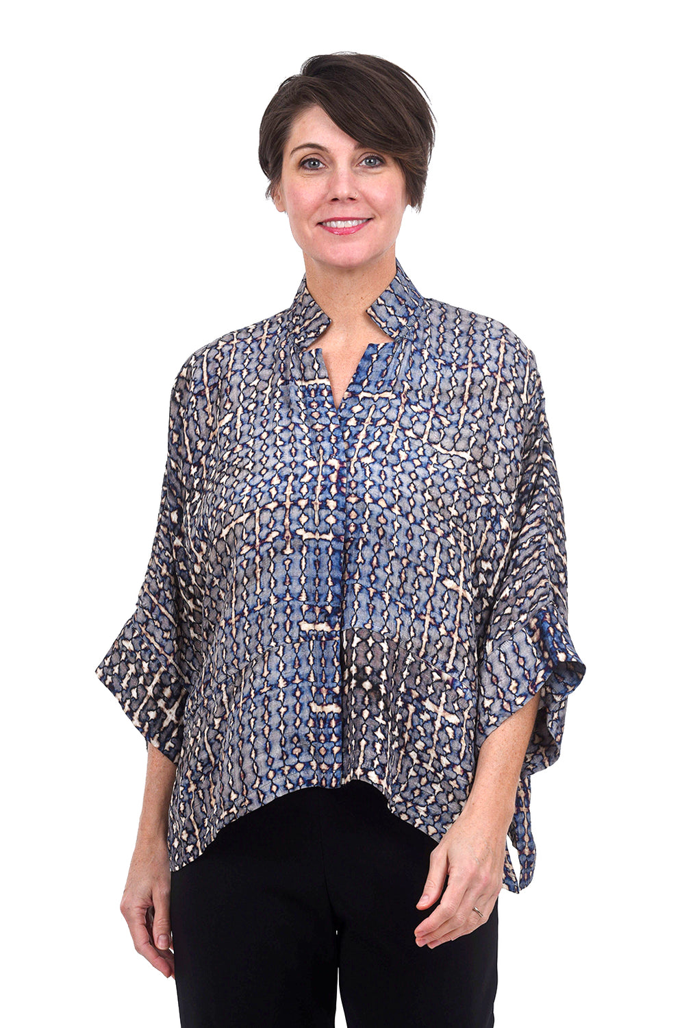 Dressori Shibori Silk Jacket, Bleach Blue