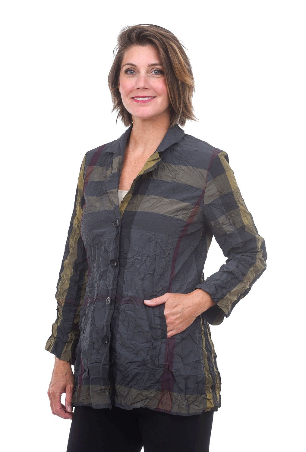 Liv by Habitat Scrunch Tartan Jacket, Khaki