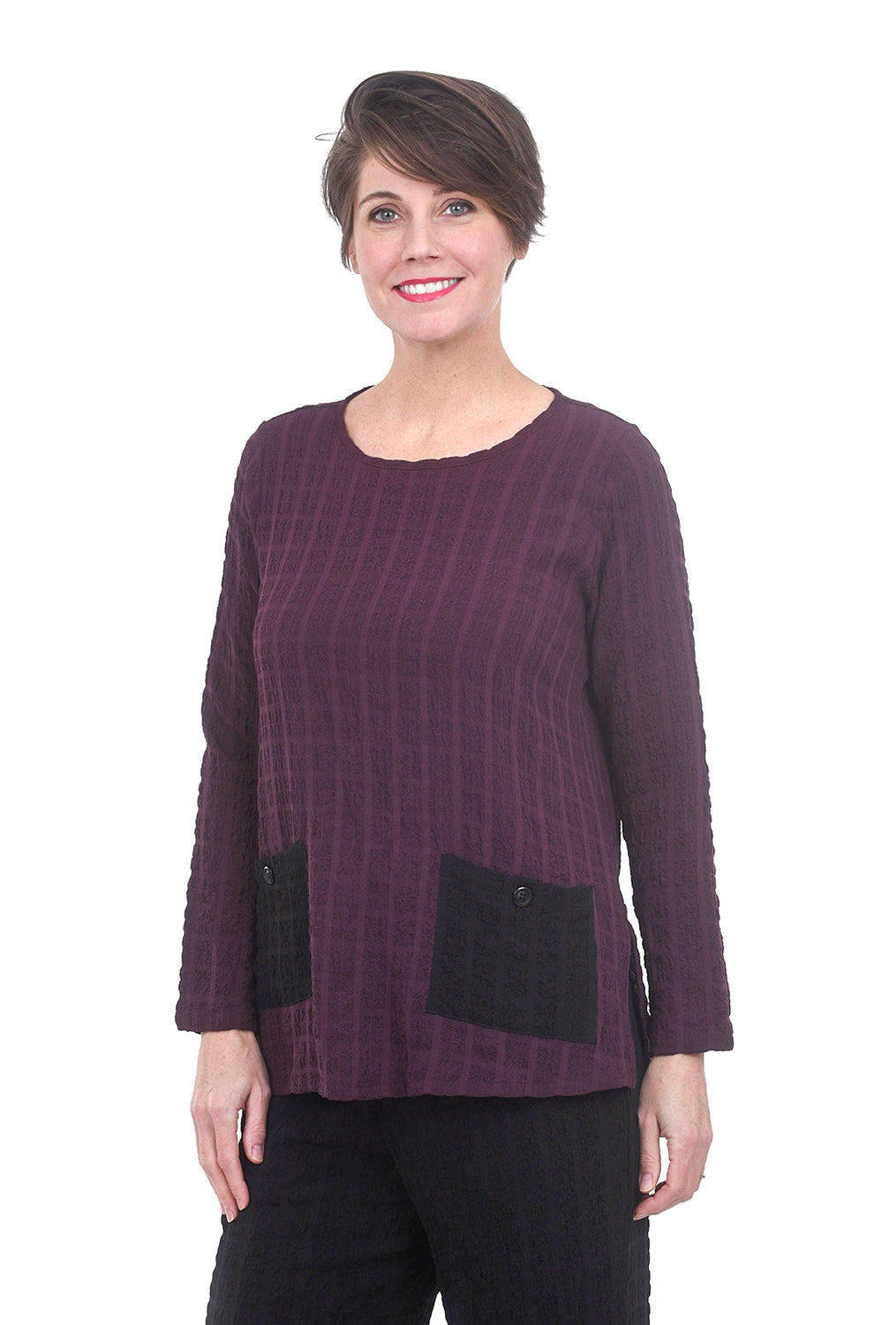 Jason by Comfy USA Rina Top, Wine/Black