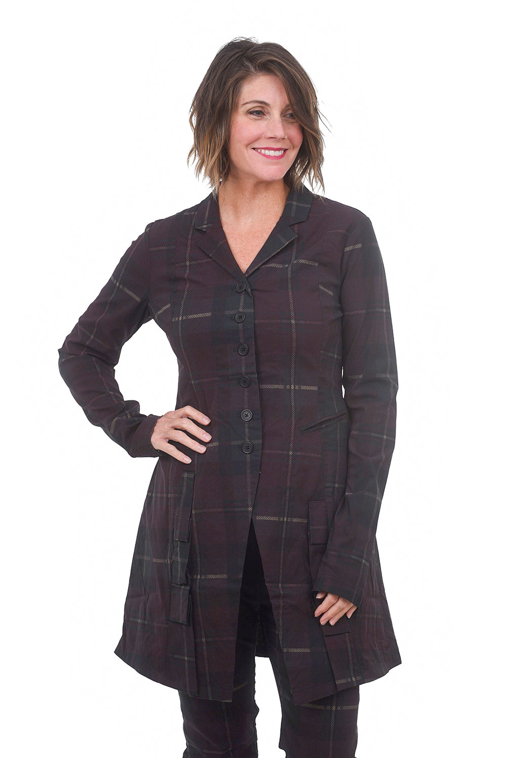 Rundholz Black Label Sig Stretch Twill Long Jacket, Merlot Plaid