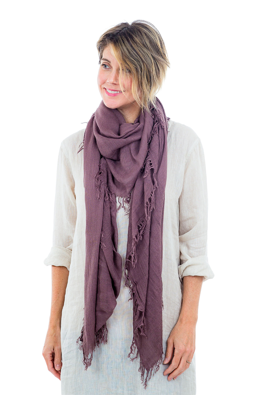 Blue Pacific Tissue Solid Scarf, Mocha Plum