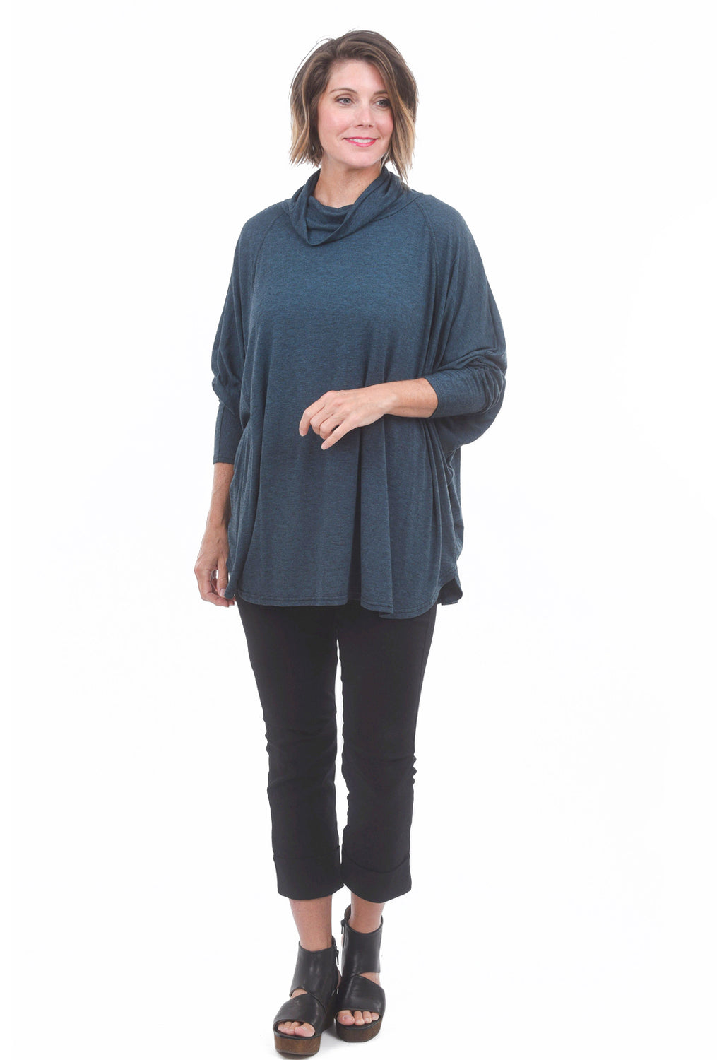 Cut Loose Char Jersey O/S Cowl Top, Gulfstream One Size Gulfstream