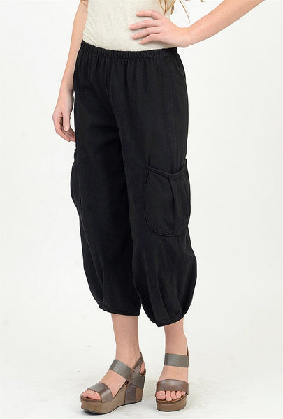 Fenini Side Pocket Crop Pant, Black Small