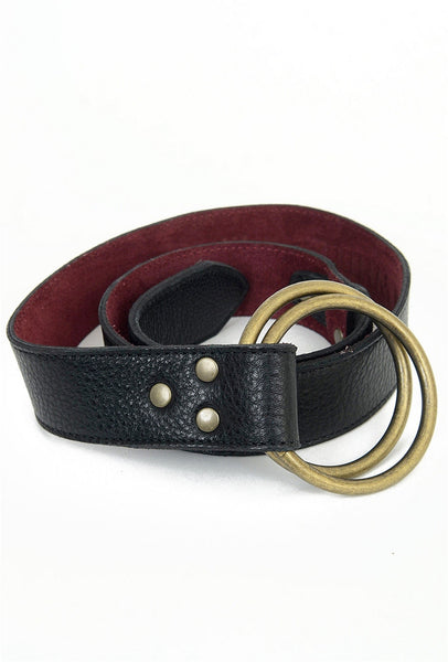 Kim White Double-Ring Belt, Black