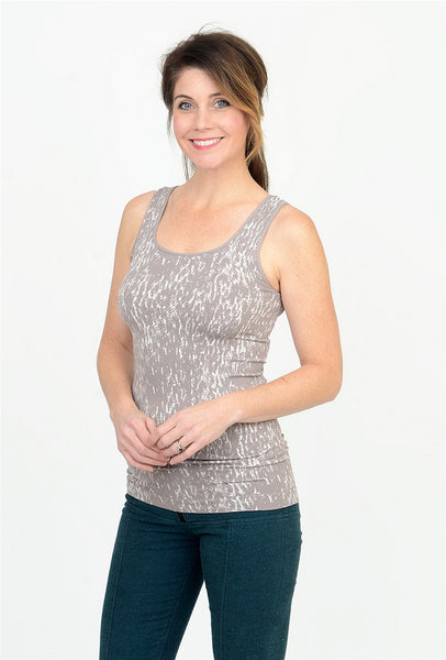Tees by Tina Monet-Pattern Smooth Tank, Pebble