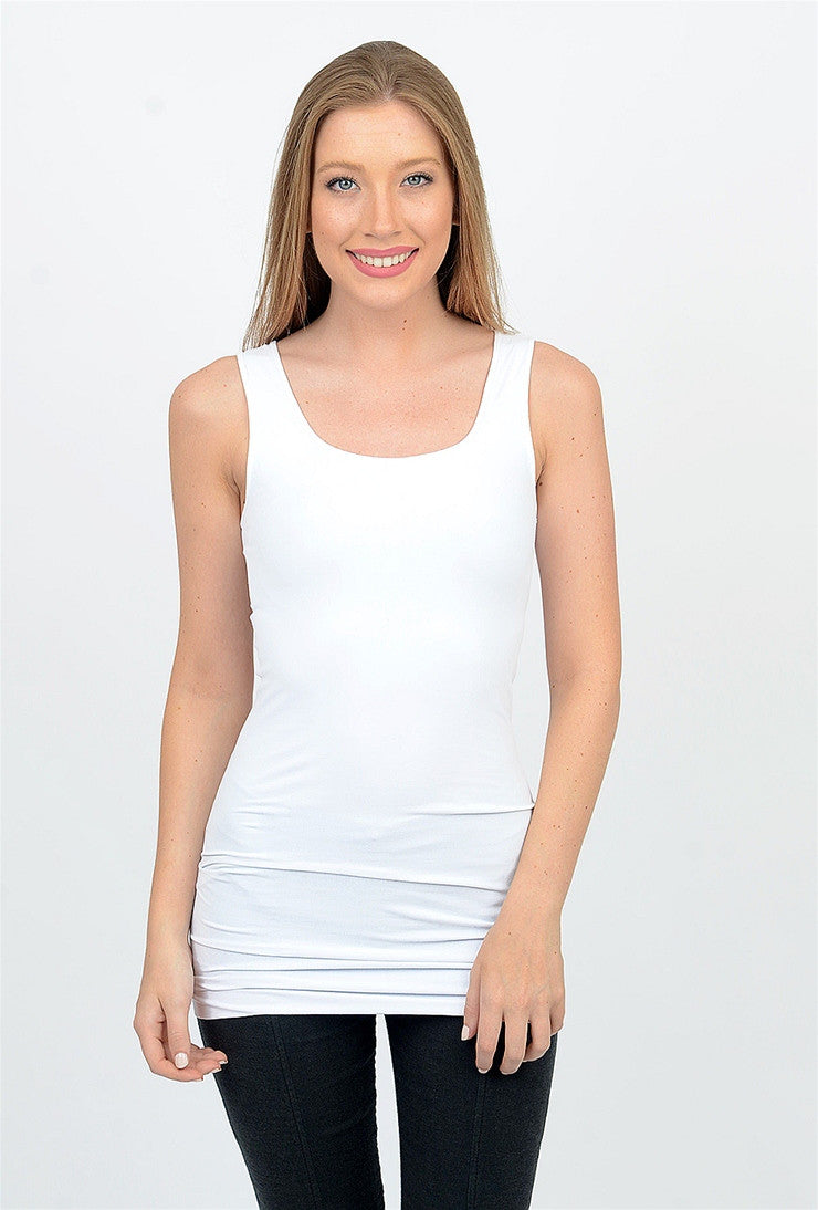 Tees by Tina Tank Tunic Slip Dress, White