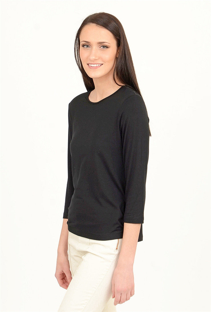 Comfy USA Comfy Basic 3/4-Sleeve Tee, Black