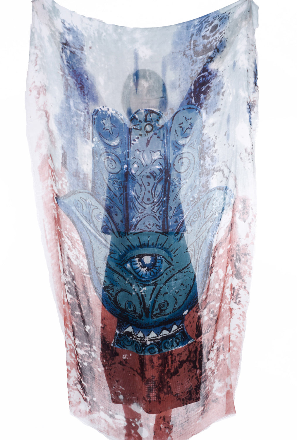 Blue Pacific Hamsa Scarf, Blue Sage One Size Blue