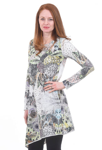 Grizas Scribble Garden Tunic, White/Pink