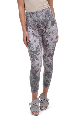 M. Rena High-Waist Print Crop Leggings, Khaki Iris One Size Khaki