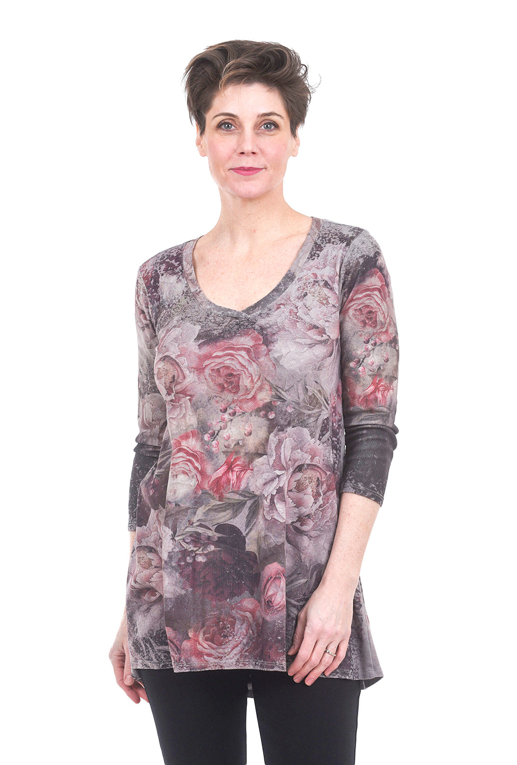 M. Rena V-Neck Sublimation Print Top, Roses Gray