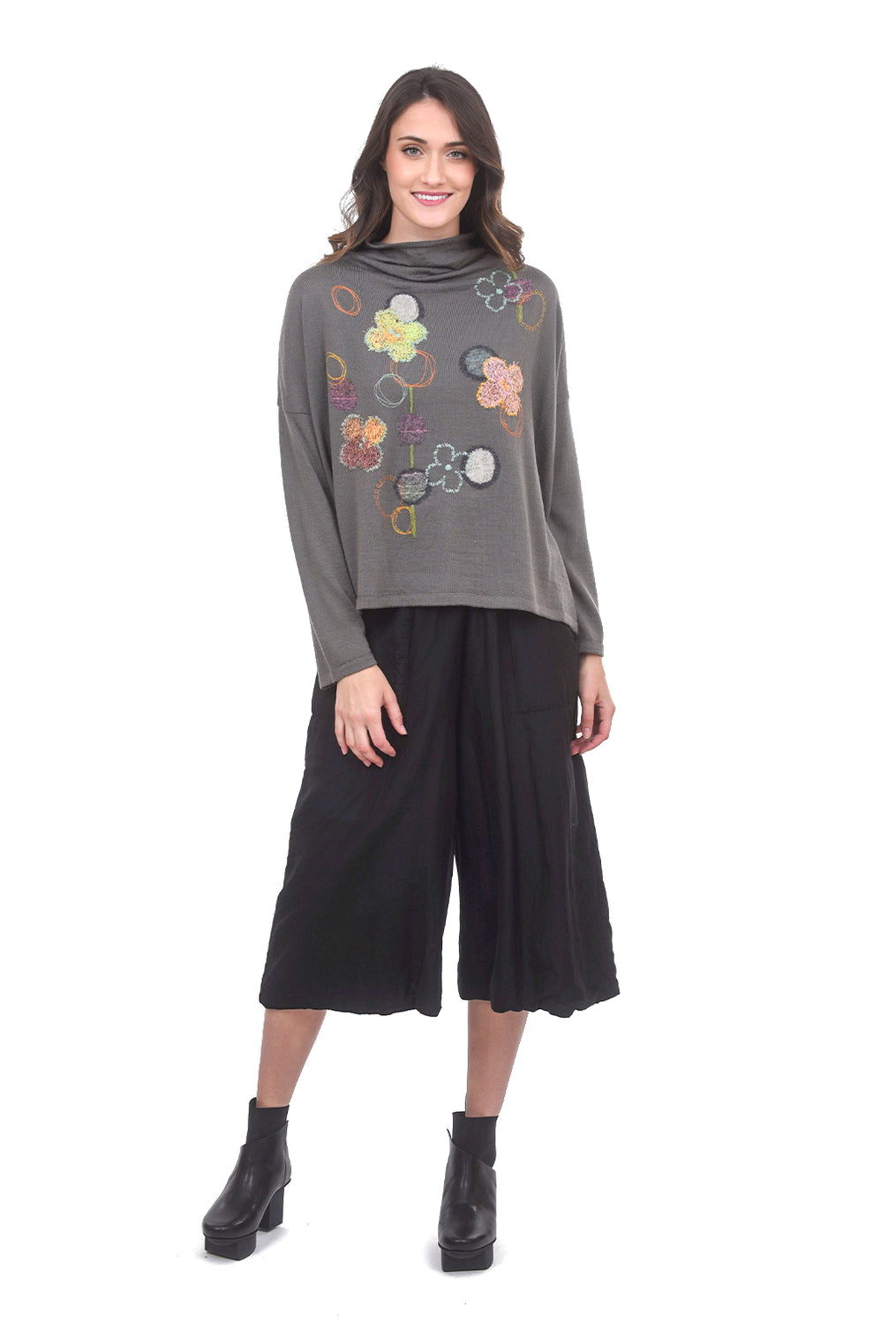 M & Kyoko Dimensional Posy Pullover, Gray One Size Gray