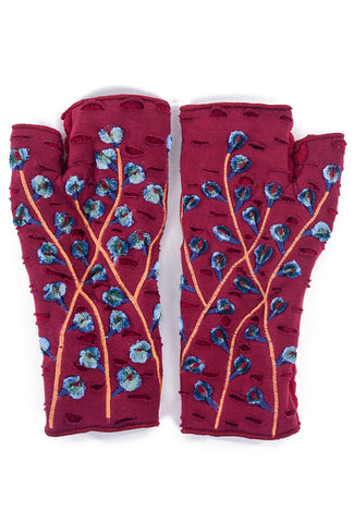 Rising Tide Velvet Bud Fingerless Gloves, Burgundy One Size Burgundy