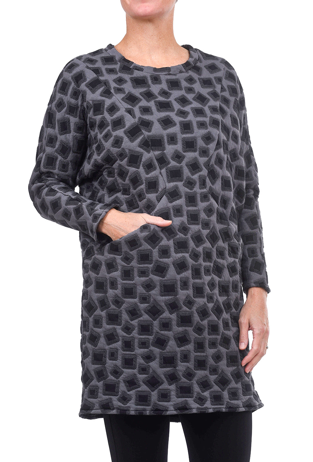 Niche Square Knit High Watt Tunic, Gray Multi